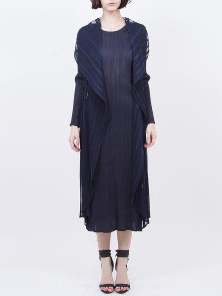 Casual Plain H-line Crew Neck Long Sleeve Midi Dress