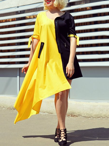 Yellow Hand Made Short Sleeve Midi Dress