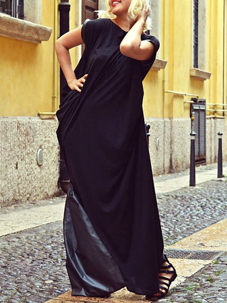 Black Sleeveless Paneled Maxi Dress