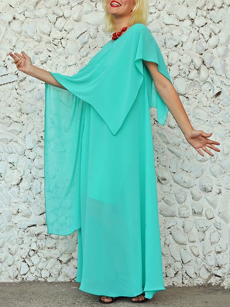 Aqua Blue Plain Statement Crew Neck Maxi Dress