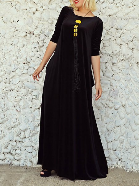 Crew Neck Black Maxi Dress Swing Daytime Half Sleeve Casual Hand made Plain Dress