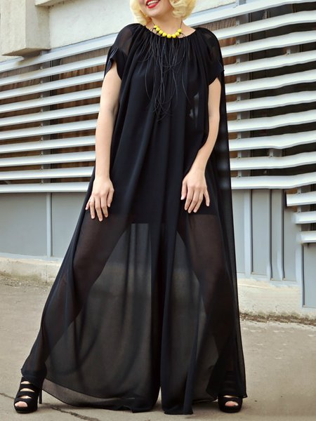 Black Viscose Casual Paneled Jumpsuit