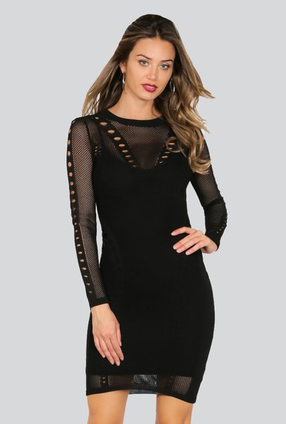 Black Bodycon Long Sleeve Crew Neck Nylon Mini Dress