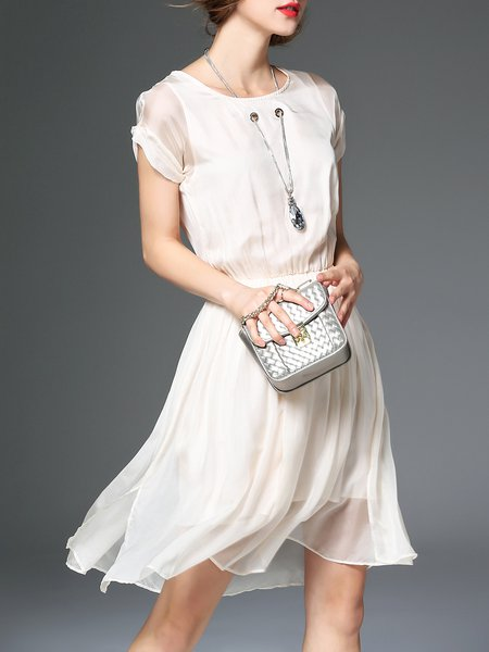 Cream Gathered Silk Short Sleeve Midi Dress