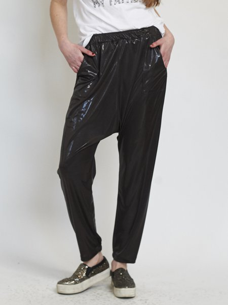 Black Plain Polyester Casual Track Pant