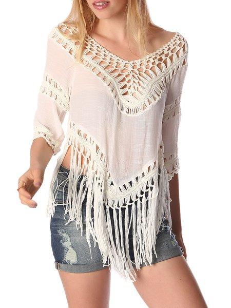 Boho Polyester Plain Half Sleeve Paneled Sweater