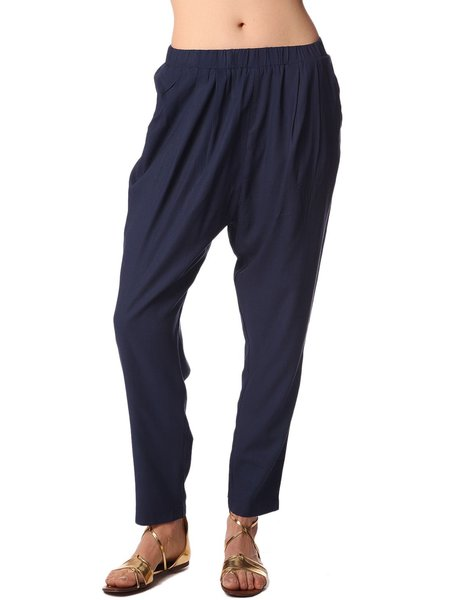 Navy Blue Plain Ramie Casual Wide Leg Pant