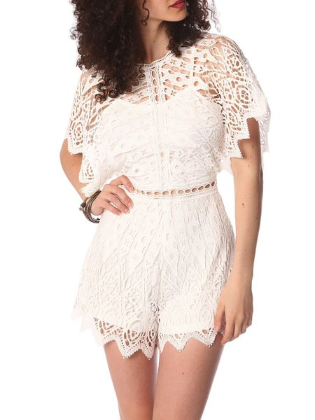 White Lace Pierced Crew Neck Casual Romper
