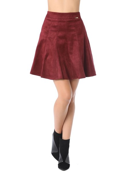 wine casual plain suede a line midi skirt stylewe