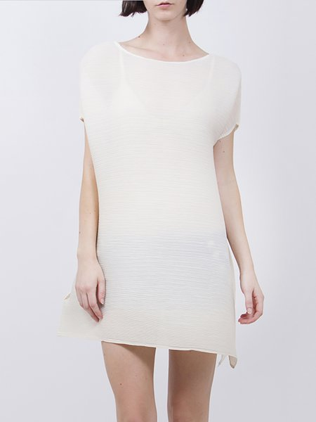 White Casual Shift Mini Dress