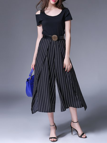 Short Sleeve Crew Neck Two Piece Stripes Simple Jumpsuit