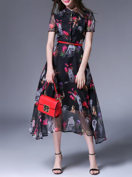 Black Sheath Animal Print Elegant Midi Dress