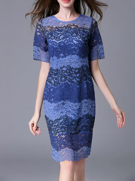 Blue Elegant Lace Midi Dress