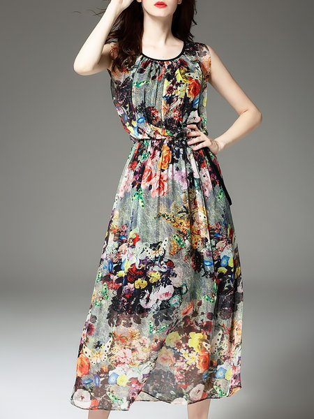 Floral Casual Sleeveless Printed Midi Dress