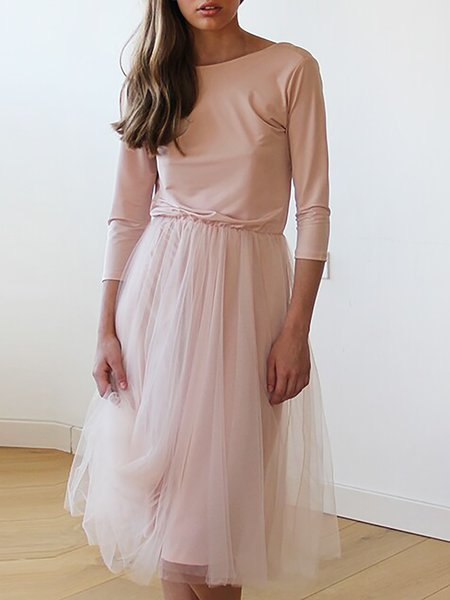 Pink Long Sleeve A-line Midi Dress