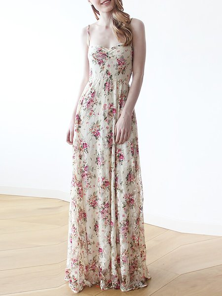 Pink Floral Lace Spaghetti Floral-print Maxi Dress