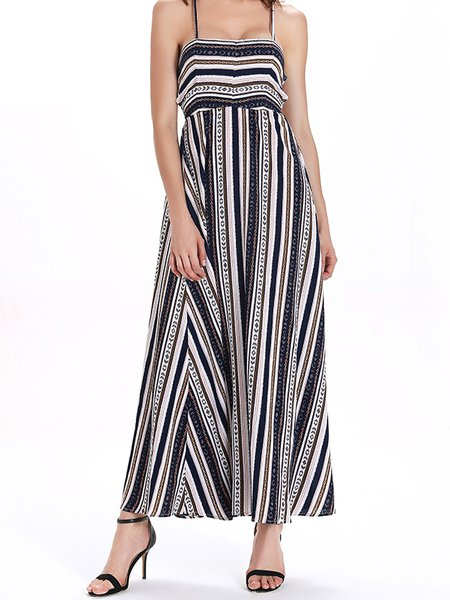 Multicolor Spaghetti Sheath Cotton Spaghetti Maxi Dress