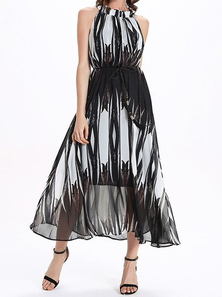 Black Boho Swing Abstract Midi Dress