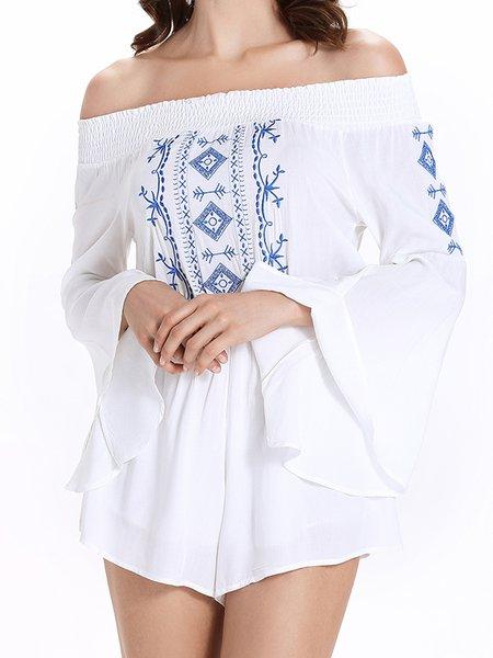 Long Sleeve Boho Off Shoulder Embroidered Romper