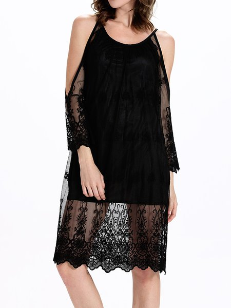Black Boho Mesh Shift Midi Dress