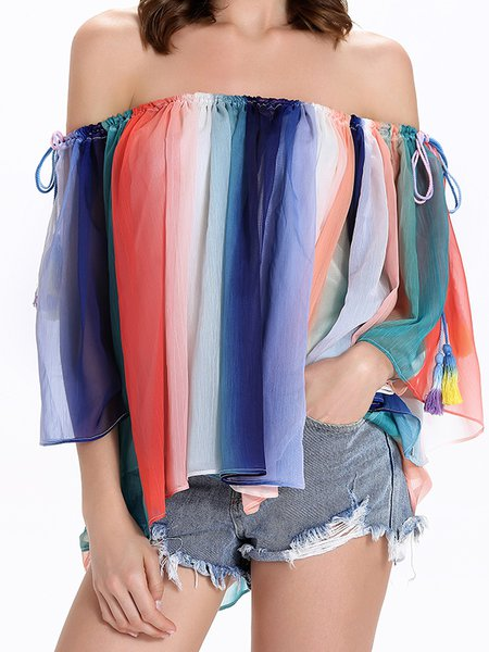 3/4 Sleeve Off Shoulder Gradient Ombre/Tie-Dye Boho Blouse