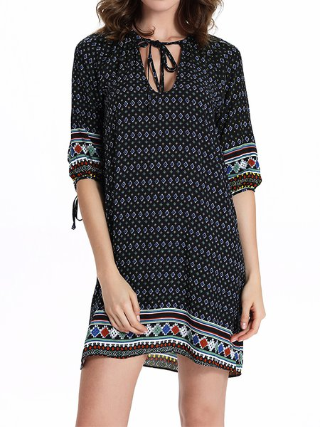 Half Sleeve Boho V Neck Mini Dress