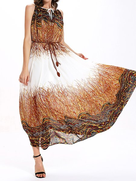 Multicolor Swing Sleeveless Abstract Maxi Dress