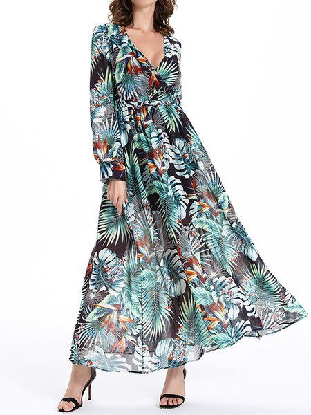 V Neck Chiffon Long Sleeve Boho Swing Maxi Dress