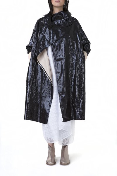 Black Linen Plain Casual Asymmetric Parka