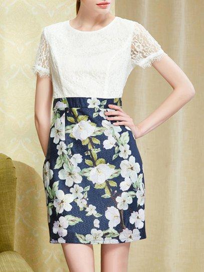 Dark Blue Short Sleeve Polyester Mini Dress