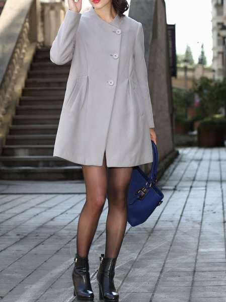 Gray Plain Long Sleeve Cotton-blend Buttoned Coat