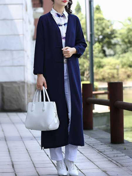 Plain Polyester Long Sleeve Slit Casual Cardigan