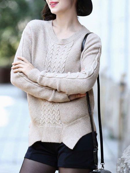 Beige Knitted Crew Neck Asymmetric Long Sleeve Sweater