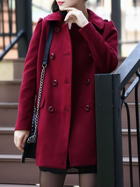 Wine Red Cotton-blend Long Sleeve Coat