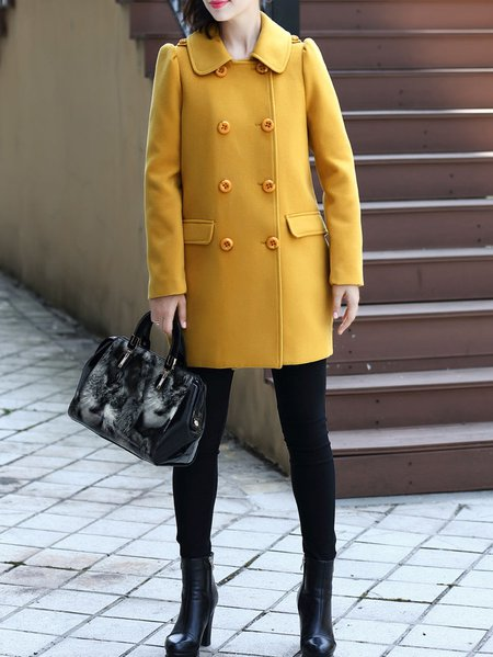 Yellow Long Sleeve H-line Coat
