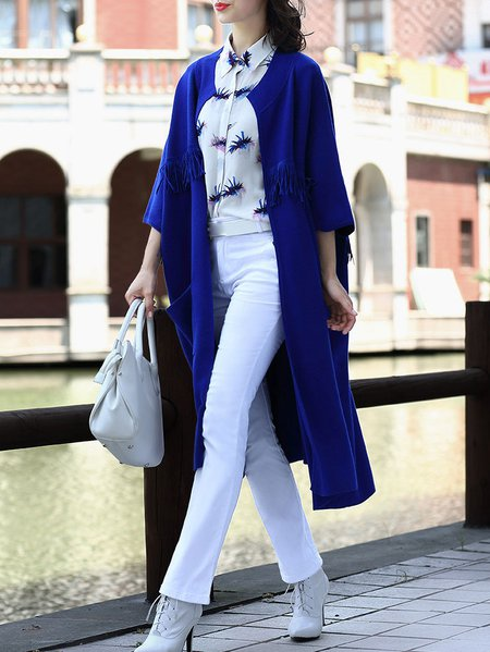 Blue Fringed Long Sleeve Plain Knitted Cardigan