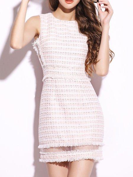 Pink Plain Crew Neck Sweet Sheath Mini Dress