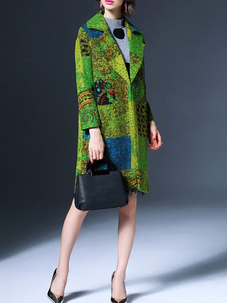Multicolor Abstract Wool Blend Long Sleeve Lapel Coat