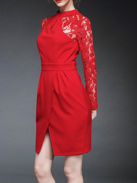 Red Cotton-blend Casual Sheath Mini Dress