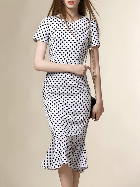 White Short Sleeve Polka Dots Midi Dress