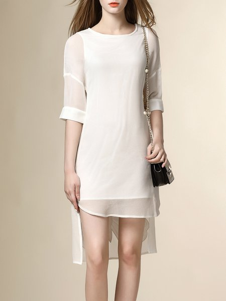 Paneled Crew Neck Half Sleeve Chiffon Simple Mini Dres