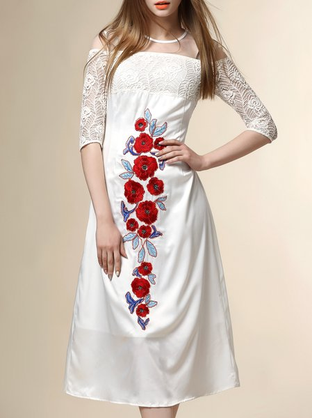 White Embroidery Half Sleeve Floral Midi Dress