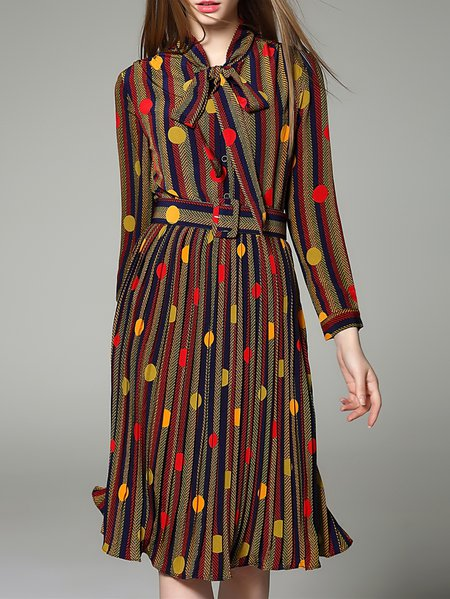 Yellow A-line Long Sleeve Silk Stand Collar Midi Dress
