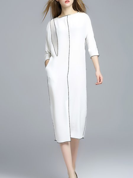White Half Sleeve Shift Bateau/boat Neck Stripes Maxi Dress
