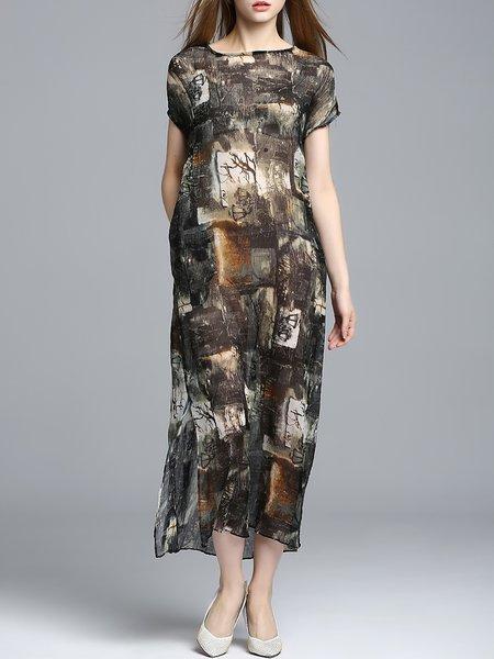 Brown short sleeve maxi dress