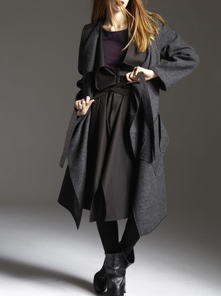Deep Gray H-line Street Coat