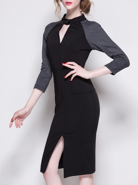 3/4 Sleeve Sheath Work Stand Collar Polyester Midi Dress