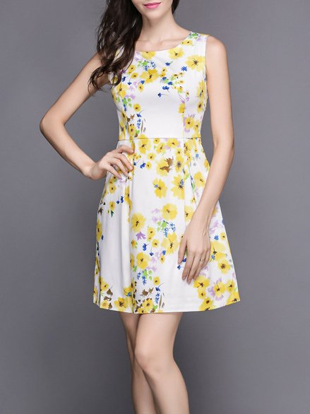 White Girly A-line Mini Dress