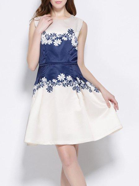 Beige Crew Neck A-line Girly Mini Dress