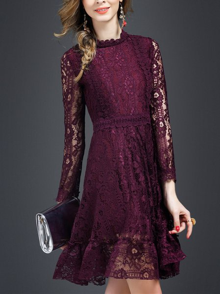 Wine Red Lace Sweet Mini Dress